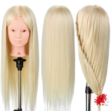 Neverland Beauty 70cm 30% Real Human Long Hair Hairdressing Cosmetology Mannequin Manikin Training Head Model with Clamp