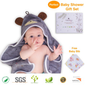 Premium Hooded Baby Towel, 100% ORGANIC Bamboo, FREE Baby Bib, 90cm x 90cm for Newborns Infants Toddlers & Kids, Perfect Baby Shower Gift, for Boys and Girls at Bath Pool & Beach, . Terry Cotton