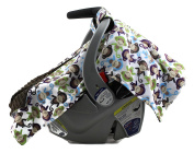 Dear Baby Gear Deluxe Carseat Canopy, Minky Print Monkeys on Brown