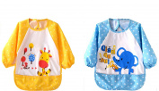Infant Toddler Baby Super Waterproof Long Sleeved Bib, Bib with Sleeves & Pocket, Waterproof Apron, 2 Pieces