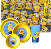 Despicable Me Minions One in a Minion Movie 6 Piece Dinnerware Set Reusable Includes Drinking Bottle, Placemat,plate , Large Bowl and Small Bowl with Utensils