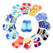 12 Pairs Anti-slip Socks Toddler Socks, HOVEOX Kids Baby Socks Non-Skid Crew Walkers Unisex For 12-36 Months 1-3 Years Baby Boys Girls Lowcut Ankle Cotton Stretch Footsocks Assorted Colour Cartoon