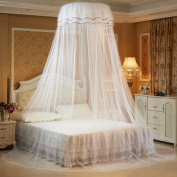 GuerbrillaRound Hoop Princess Girl Pastoral Lace Bed Canopy Mosquito Net Fit Crib Twin Full Queen Bed, Lace Bed Canopy Netting Bedroom Decorative Dome Mosquito Net, Luminous butterfly