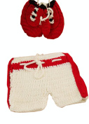 Newborn Baby Photography Prop Handmade Crochet Knitted Boxing Glove Pants Outfit