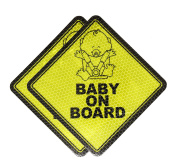 Mandala Crafts Car Auto Baby On Board Reflective UV Protection Safety Yellow Signs Magnets