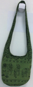 Hippie Elephant Sling Crossbody Bag Shoulder Bag Purse Thai Top Zip Handmade. New Colour:Green by beauty fantastic