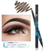 Ladygo 2 in 1 Automatic Eyebrow Pencil with Eyeliner Long-lasting Waterproof Makeup Cosmetic Tool, Dark Brown-2#