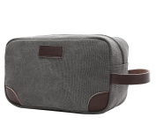 Travel Toiletry Bag,Vintage Leather Canvas Shaving Zipper Dopp Kit Cosmetic Bag Grey