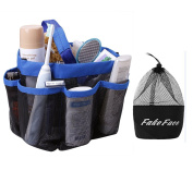 Quick Drying Mesh Caddy Organiser 8 Pockets Hanging Shower Toiletry Bag Makeup Cosmetic Storage Bag Bath Shampoo Shower Organiser Oxford Travel Gym Dorm Bathroom Pouch Case Washing Bag with Handles Blue
