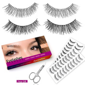 Goldrose 20 Pairs Long Cross Wispies False Eyelashes Lashes + Curved Scissors(Safety Use for Eyebrows,Shape False Eyelashes), Natural Looking Soft With A Flexible Band
