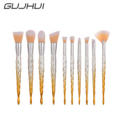 Owill 10Pcs Dold Plated Barb Blending Pencil Foundation Eye Shadow Eyebrow Blush Makeup Brushes