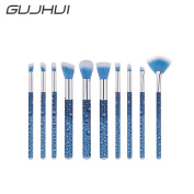 Owill 10Pcs Drop Water Pattern Blending Pencil Foundation Makeup Eyeliner Brushes