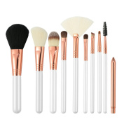 Professional 10Pcs Makeup Brush Cosmetics Set with Long Handle Premium Natural Soft Synthetic Fibre for Powder, Foundation, Blush, Concealer, Eye Shadow, Eyeliner, Angled brush Lip, etc