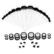 36 PCS Acrylic Ear Piercing Kit 18 Pair of Tapers And Single Flared Tunnel in 9 Sizes Body Piercing Supplies Transparent