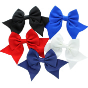 My Lello Medium 14cm Girls Classic Boutique Tails Grosgrain Hair-Bow Mixed Cheer Variety 5 Pack Black/Royal Blue/Red/White/Navy