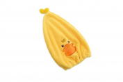 Efivs Arts Dry Cute Cartoon Soft Coral Fleece Children Shower Cap Absorbent Dry Hair Cap Kids Quick Drying Towel Head Wrap Set-Duck