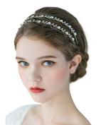 SWEETV Sparkly Crystal Hair Band Rhinestone Headband Tiara Wedding Hair Accessories, Double Band Silver