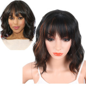 KRSI Women's Short Curly Synthetic Wigs With Air Bangs Natural Black/Brown Wigs for Black Women Heat Resistant Custom Cosplay Party Full Wigs 36cm