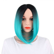 KRSI Short Straight Ombre Blue Bob Wigs for Black Women Natural Hair Blue Wigs for Women Middle Part Heat Resistant Synthetic Full Wigs+Free Wig Cap
