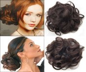 Scrunchy Scrunchie Bun Up Do Hairpiece Hair Ribbon Ponytail Extensions Wavy Curly or Messy Colour #4