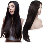 Ebingoo Long Straight Lace Front Synthetic Hair Black Wig Natural Hand Tied Heat Resistant Lace Wigs