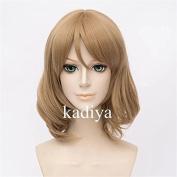 Kadiya Cosplayer Cosplay Wigs Short Light Brown Wavy Curly Girl Anime Hair
