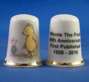Porcelain China Collectable Thimble - Winnie the Pooh 90th Anniversary -- Free Gift Box