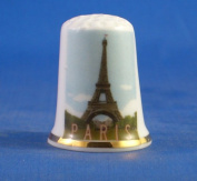 Porcelain China Collectable Thimble - Travel Poster Series Paris -- Free Gift Box