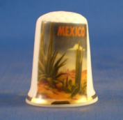 Porcelain China Collectable Thimble - Travel Poster Series Mexico -- Free Gift Box