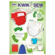 Kwik Sew Baby Sewing Pattern 3690 Nappies, Nappy Cover, Insert & Bags