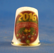 Porcelain China Collectable Thimble - Merry Christmas 2016 -- Free Gift Box
