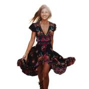Women Dress,IEason Hot Sale! Women Print Floral Retro Palace V-Neck Evening Party Dress