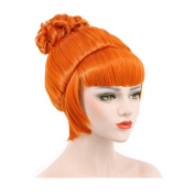 Karlery Beautiful Women's Fluffy Natural Curly Fashion Orange Bud Ball Head Braid Bang Updo Chignon Cosplay Wig for Halloween Costume Party