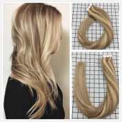 LaaVoo 41cm 20pcs/50g Tape in Human Extensions Ash Blonde #18 Highlighted with Bleach Blonde #613 100% Remy Human Hair Extensions