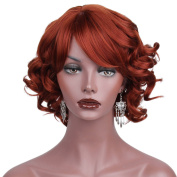 AISI HAIR Short Curly Wigs Synthetic Red Wigs for Black Women Side Bangs Heat Resistant Wig Bobs Hairstyles Layered Wig