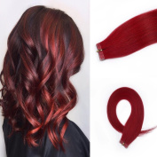 HAIQUAN Deep Red 20Pcs Tape In Human Hair Extensions 50cm 30g/pack Slilky Straight Seamless Skin Weft Remy Hair
