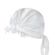 LULUSILK 100% Mulberry Silk Night Sleep Cap Adjustable Head Cover Bonnet with Ribbons Style for Women Hair Beauty