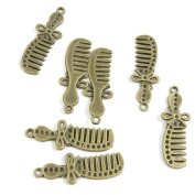 10 Pieces Schmuckteile Jewellery Making Supply Charms Findings Bronze Tone F9AC2 Haircomb Hair Comb