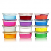 Alberar 12 Pcs/lot Clay Slime DIY Non-toxic Crystal Mud Play Transparent Magic Plasticine Kid Toys, 12 Colour(Colour random) (Colourful
