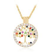 Skyllc® The Tree of Life Disc Crystal Rhinestone Inlaid Pendant Necklace Gold