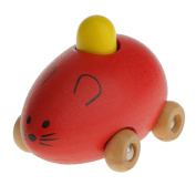 MagiDeal Baby Kids Small Mouse Wooden Animal Toy Car, Mini Model Red