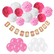 Baby Shower Decorations, Recosis IT IS A GIRL Paper Garland Bunting Banner with 12pcs Paper Pom Poms and 20pcs Latex Balloons for Christening Baby Shower Garland Decoration Birthday Party Favours