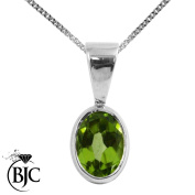 BJC® 9ct White Gold Natural Peridot Single Oval Solitaire Pendant 1.50ct Optional Necklace Sold separately