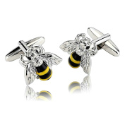 AnaZoz Fashion Jewellery Stainless Steel Mens 1 Pair Cufflinks Novelty Crystal Bee Insect Style Silver Men's Cuff Links