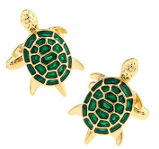 Covink® Men's Unique Green And Gold Little Turtle Tortoise Cufflinks