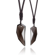 COAI® Natural Ice Obsidian Spike Amulet Pendant Necklace His and Hers Couple Jewellery