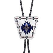 MASOP Art Deco Jewellery Inverted Trapezoidal White Blue Bolo Tie Shirt Accessories