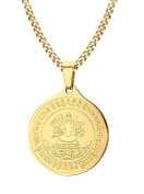 Vnox 18K Gold Plated Stainless Steel Round Tag Thousand Hand Buddha Pendant Necklace for Men Women,Free Chain