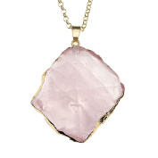 JSDDE Natural Gemstone Rose Quartz Healing Crystal Stone Irregular Shape Pendant Necklace