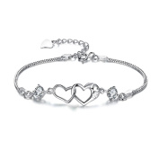 Oyedens Fashion Style Love Heart Bangle Cuff Bracelet Crystal Rhinestone Jewellery Gift